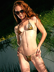 Heather Carolin Rocking Tiny Leopard Thong Bikini